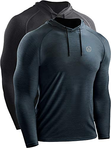Neleus Men's 2 Pack Dry Fit Running Shirt Long Sleeve Workout Athletic Shirts with Hoods,5071 Slate Grey,Dark Grey,US M,EU L