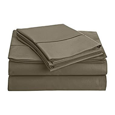 CHATEAU HOME COLLECTION 800-Thread-Count Egyptian Cotton Deep Pocket Sateen Weave Sheet Set (QUEEN, Granite Grey)