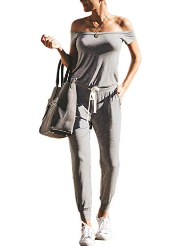 ANRABESS Summer Solid Casual Loose Short Sleeve Off Shoulder Beam Foot Jumpsuits Rompers huise-M A211