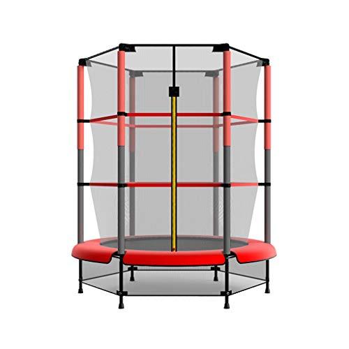 Trampoline 55 Pouces pour Enfants avec Filet de Protection et Couverture Rouge pour Jardin, Trampoline Bounce Sports Edition Junior