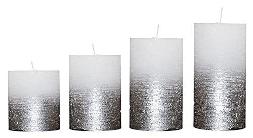 Candelo 4er Set Rustik Kerzen Ambiente Weihnachten - Adventskranz Kerze - Farbe Weiß Metallic Silber - 8/10/12/14cm - Stumpenkerze Advent Weihnachtskerze