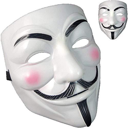 Depointer Halloween Masks, V for Vendetta Mask Costume Party Mask for Halloween Carnivals Masquerades Festival, White