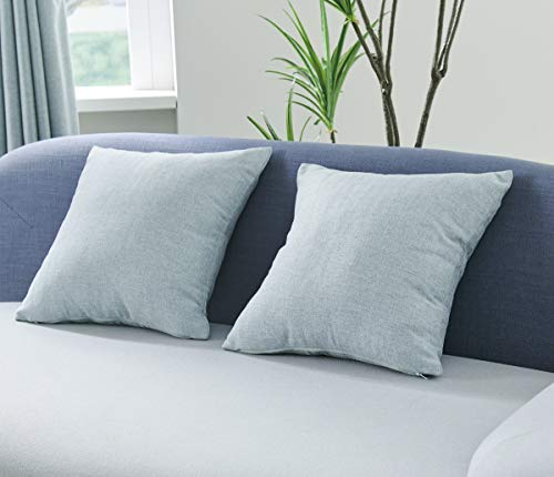 Coastline Living Heringbone Dobby Woven Textured Cushion Cover, Decorative Throw Pillow Cases for Sofa Bed Chair, Duckegg, 40x40cm Pack of 2 pcs
