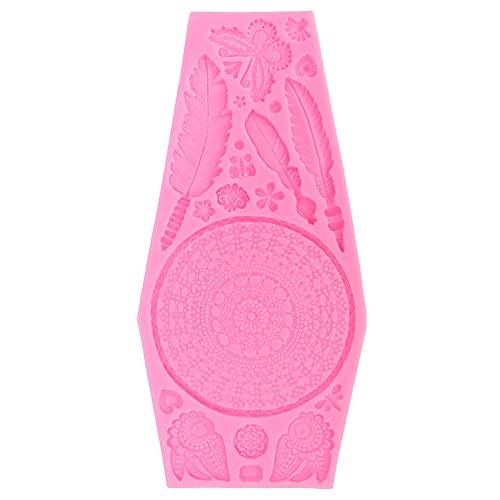 Molde de silicona con textura de mariposa de silicona para fondant, ideal para hornear, color rosa