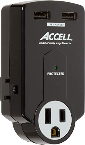 Accell Power Travel Surge Protector - 3 Outlets, 2 USB Charging Ports (2.1A Output), Folding Plug -...