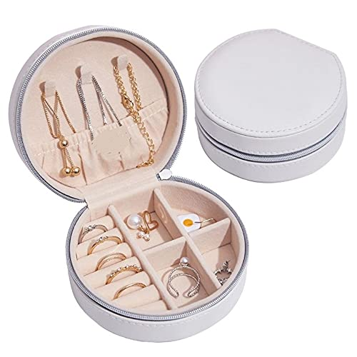 Caja Joyero Pequeña, Mini Estuche Organizador de Joyería Portátil de Viaje para Mujer con Espejo, Caja de Regalo de Joyería de Forma Redonda de Doble Capa Adecuado para Aretes Collar Anillos (Blanco)