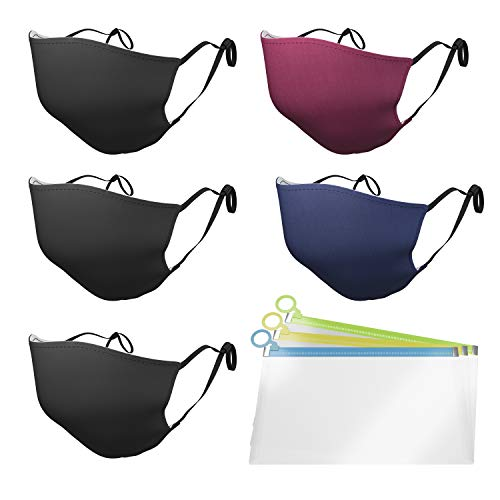 Pack of 5 Reusable Face Mask Cotton Covering for Adult 3 Layers + BONUS 3 Silicone Bags 3 ply Face Mask Breathable Adjustable Ear Loops Washable Cloth Face Dustproof Protection Unisex Mask Design