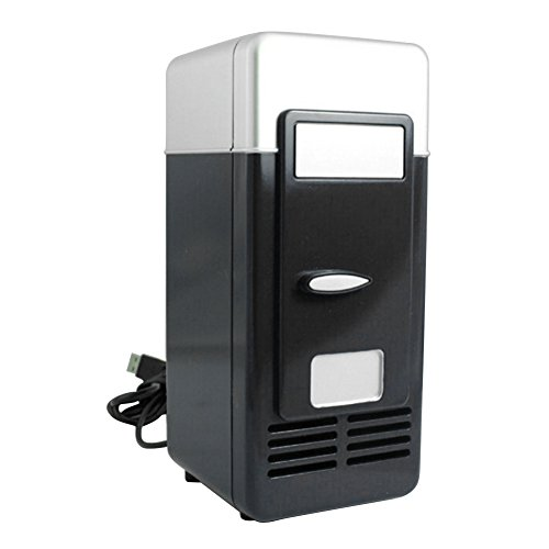 Mini Réfrigérateur Réfrigérateur de Voiture avec USB Interface Auto Camping Glacière Seau à Glace Boîtes de Conservation avec Poignée de Transport pour Voiture Maison, Bureau, Hôtel ou Dortoir (Noir)