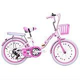 SHIN Btt Bicicleta Plegable niño 18' Bike Plegable Unisex Aluminio Urban Bici Ligera Estudiante Folding City Bike,sillin Confort Ajustables,6 Velocidad,Capacidad 150kg / Rosa / 20in