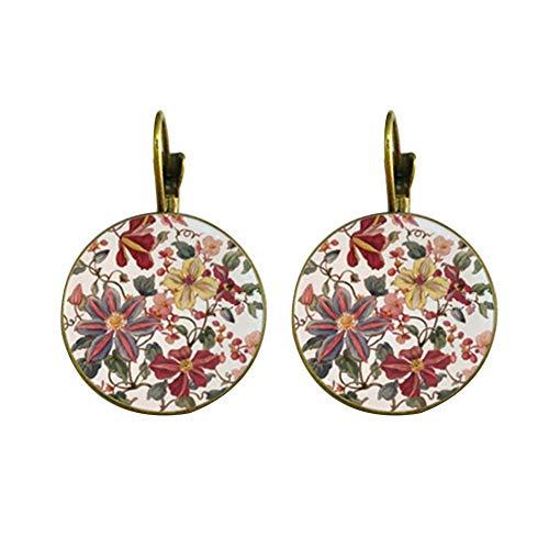 Pendientes PULABO para mujer, estilo vintage, con diseño de flores, portátiles, de...