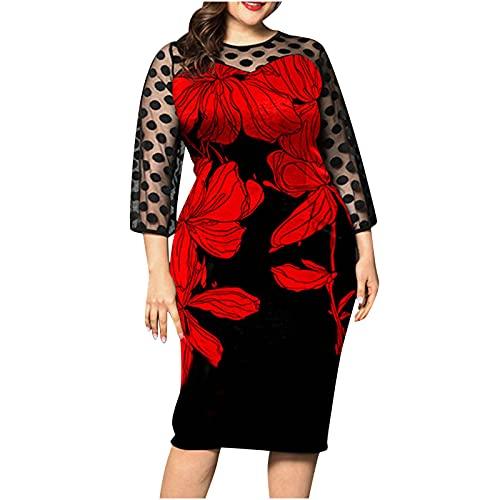 Vestido de perspectiva de empalme de la impresión floral de la manga larga de las mujeres de la manera