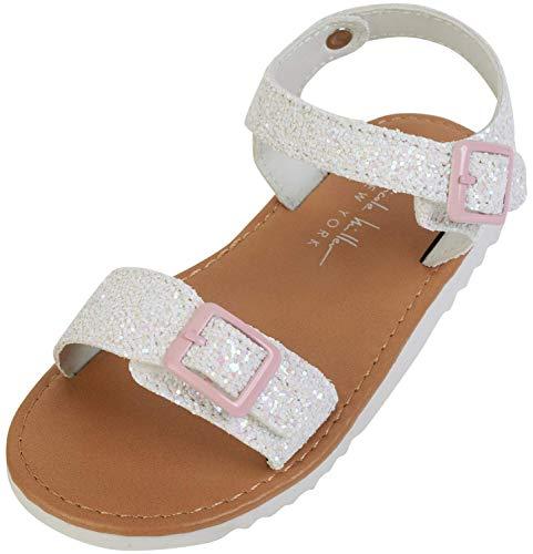 Nicole Miller Girls Chunky Glitter Sandals (Toddler), White Glitter, Size 10