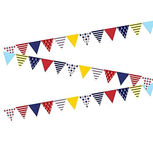 Wimpelkette mit 36 dreieckigen Flaggen, 10 m, marineblauer Stil, Wimpelkette für Hochzeit, Geburtstag, Party, Zuhause, Festival, Outdoor, Garten, Dekoration