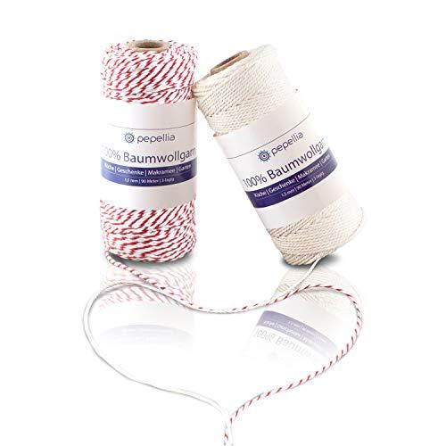 PEPELLIA® Baumwollgarn 180m x 1,5mm - Makramee Garn, extrem reißfest - lebensmittelecht gefärbt/Natur - 100% Baumwollschnur - mehr als ein Bindfaden: ideales Küchengarn, Bastelschnur, Geschenkband