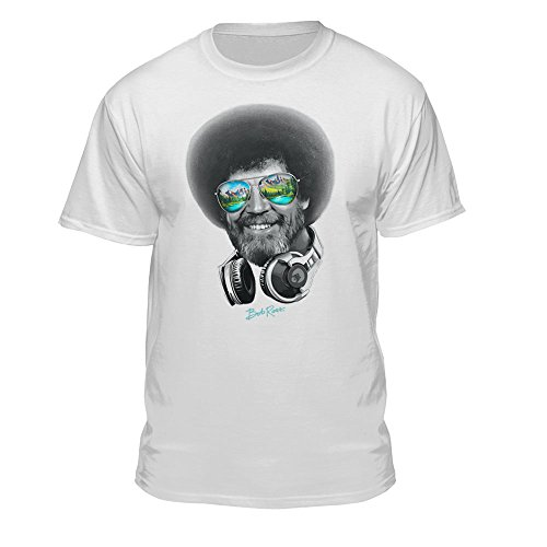 Teelocity DJ Bob Ross Officially - Licensed Headphone & Shades T-Shirt, Uni-Sex tee Shirt, for Men, Women, and Children, Creative Shirt Design (Large, White)