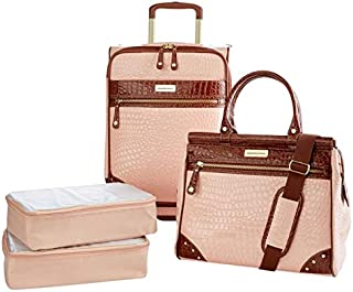 Samantha Brown Croco Embossed Luggage 4-Piece Set - Nude