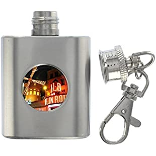 Moulin Rouge Scene Miniature Stainless Steel Flask Keyring