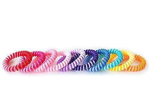 Haargummi 10er Set bunt Mix (Kunststoff-Spirale) Telefonkabel elastisch Haaraccessoire Haarschmuck