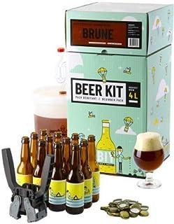 Kit de Brassage Débutant Complet, Je Brasse et j'embouteille 4 litres de bière - Idée Cadeau 100% découverte - (Bière Brun...