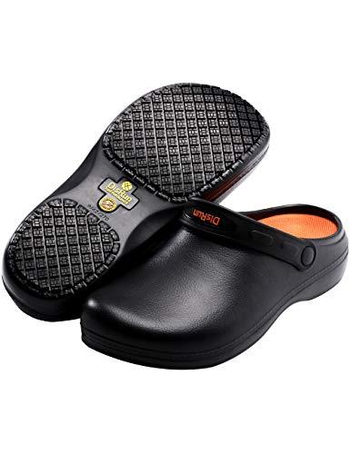 Disrun Non Slip Chef Shoes Oil Resistant Kitchen Work Shoes for Men (Numeric_10) Black