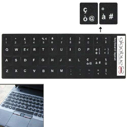 Gigabue Pack 10 Italian Learning Keyboard Layout Sticker Schwarze Tasten Aufkleber für Computer