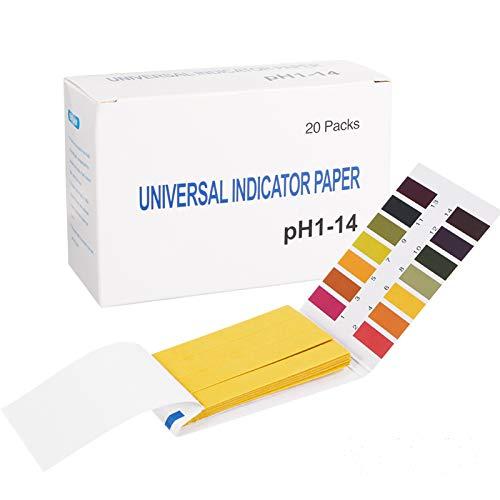 You&Lemon 1600 Stück pH Teststreifen, 20 Packungen Lackmus-Testpapier, pH Wert Bereich 1-14, PH Indikator Lackmus Test Papier für Boden Wasser Seife Aquarien