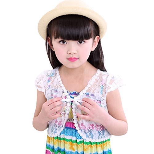 CUTUDE Vetement Fille Enfant Manches Courtes T-Shirts Dentelle Lace Mignon Protection Solaire Tops Cardigan Petit Châle Gilet Tunique, 2-8 Ans (XL, Blanc)