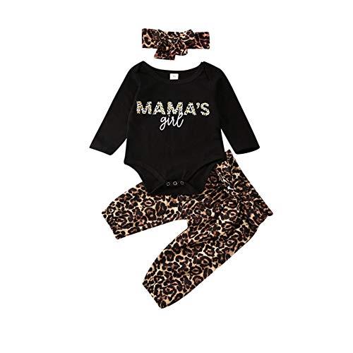 Kleinkind Baby Mädchen Outfits Set 3 Stück Langarm Brief T Shirt Lange Hose Stirnband Baumwolle Kleidung Set für 0-24 Monate (0-3 Monate, Schwarz 3)