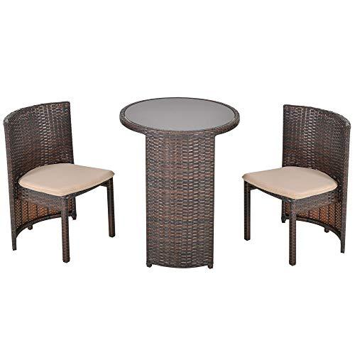 Outsunny Conjunto de Muebles Ratán de Jardín 3 Piezas con 1 Mesa de Café y 2 Sillas con Cojines para Terraza Exterior Fácil Almacenaje Acero Marrón