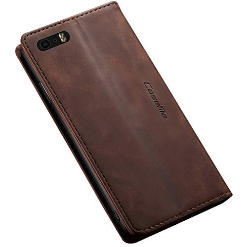 iPhone SE 第1世代 / 5s / 5 ケース 手帳型 横開き 二つ折り PUレザー 耐衝撃 カード収納 スタンド機能 ストラップホール付き マグネット 磁気吸着 軽量 薄型 ブランド 正規品 (ブラウン)