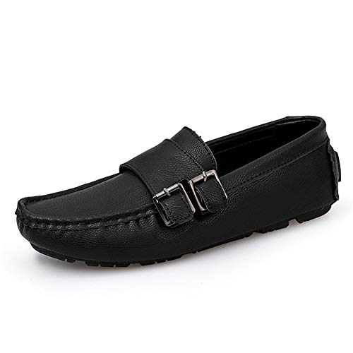 Liangcha-0401 Business Drive Loafer For Men Casual Shoes Slip On PU Leather Round Toe Solid Color Splice Rubber Sole Stitching Alloy Ring Decor (Color : Black, Size : 45 EU)