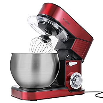 Stand Mixer CUSIMAX 6.5QT Stainless Steel Dough Mixer 6-Speed Tilt-Head Food Mixer for Baking with Dough Hook Wire Whip & Flat Beater Splash Guard Kitchen Mixer for Home Cooking Electric Mixer Red