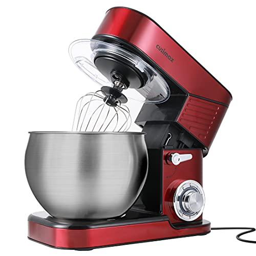 Stand Mixer, CUSIMAX 6.5QT Mixer Stainless Steel kitchen mixer, 6-Speeds Tilt-Head Dough Mixer with Hook, Whisk & Beater, Splash Guard Electric Mixer, Red