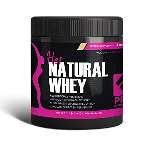 Her Natural Whey Protein Powder for Women - Supports Weight Loss & Lean Muscle Mass - Low Carb - Gluten Free - Grass Fed & rBGH Hormone Free (Creamy Vanilla, 1 lb)