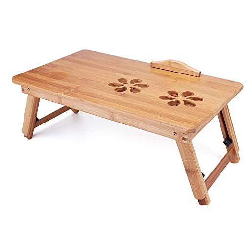 HMBB Escritorio para ordenador portátil, mesa de cama plegable, bandeja de desayuno, portátil, soporte de lectura para cama, sofá, suelo (tamaño medio: 50 x 30 x 30 cm)