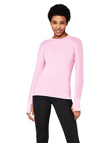 Amazon-Marke: AURIQUE Damen nahtloses Sporttop mit langen Ärmeln, Pink (Pink Marl), 42, Label:XL