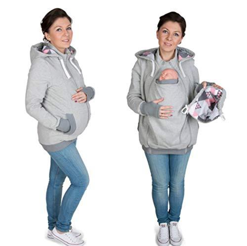 KURAZL Tragejacke für Mama und Baby, 3 in 1 Winter Umstandsjacke Mama Kängurujacke aus Fleece Tragepullove für Babytrage,Grau,M