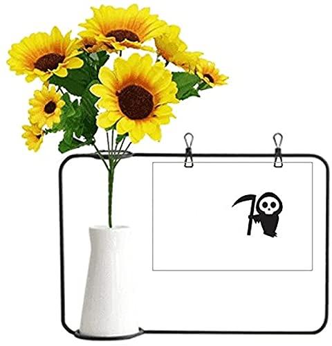 Home World Happy Ghost Fear Halloween Vasos de girassol artificiais, cartão de bênção