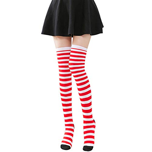 CHIC DIARY Overknee Kniestrümpfe Damen Mädchen Bunte Lustige Strümpfe Streifen Strumpfhose College Cheerleader Party Kostüm,22-26cm, rot - weiss