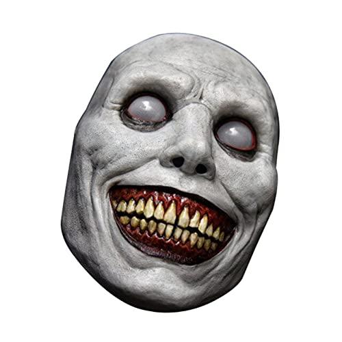 BuyB Máscara de terror de Halloween para exorcista, máscara de demônio, máscara de rosto branco, adereços para fantasia de cosplay festa de Halloween
