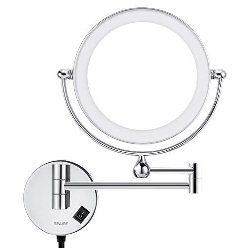 Spaire Espejo baño LED 5X Lupa + Normal Ducha Doble