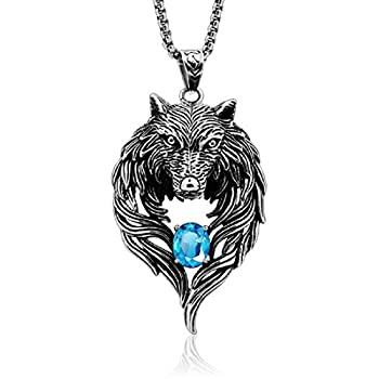 Gifts for Him Cool Men s Stainless Steel Biker Tribal Wolf Head Pendant Necklace Blue CZ 24  Chain  Blue