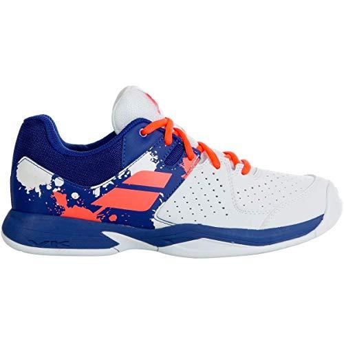BABOLAT Pulsion All Court JR, Chaussures de Tennis Mixte Adulte, White/Dazzling Blue, 38.5 EU