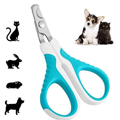 LEYMING - Tijeras para cortar uñas de perro con cuchillas curvadas de acero inoxidable, fácil de usar para animales pequeños, gatos, perros, gatitos, hámsteres, conejos