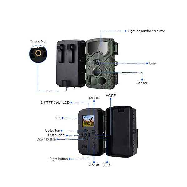 GordVE Wildlife Trail Camera,13MP 1080P Trap with Infrared Night Vision Motion Activated Hunting Game Camera 0.2S Trigger Speed with IP54 Waterproof Camera