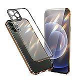 Jonwelsy Funda Compatible con iPhone 12 Pro MAX (6,7'), 360 Grados Delantera y Trasera Vidrio Templado Case con Protección Lentes Cámara, Metal Bumper a Prueba de choques Carcasa (Oro)