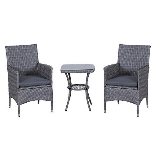Outsunny Gartensitzgruppe mit Beistelltisch, 3-TLG. Rattan Gartenset, Sitzgarnitur mit Sitzkissen, Polyrattan + Stahl, Grau 60 x 58,5 x 89,5 cm