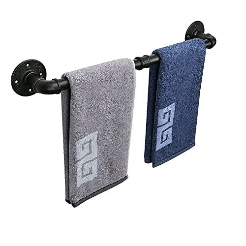 NearMoon Industrial Pipe Towel Bar, Heavy Duty Bathroom Hardware Towel Bar Accessory, Wall Mounted DIY Rustic Iron Bathroom Towel Rack Holder (Black, 18 Inch)
