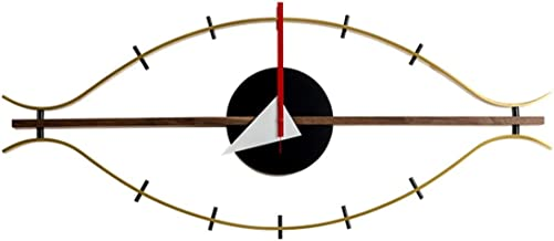 SHISEDECO George Nelson Eye Clock - Copper and Walnut Solid Wood - Mid Century Retro Design Decorative Modern Silent Wall Clock for Home, Kitchen, Bedroom, Study Room, Living Room, Office etc.