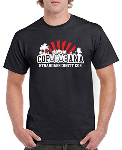 Comedy Shirts - Copacabana Strandabschnitt 1312 - Herren T-Shirt - Schwarz/Weiss-Rot Gr. XXL